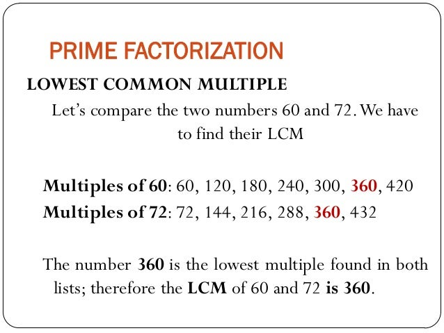 Mathematics For Grade 6 Prime Factorization Lcm