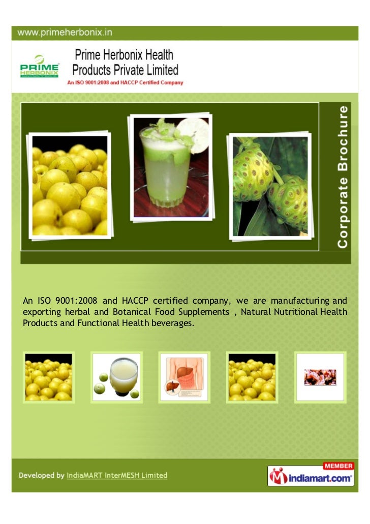 An ISO 9001:2008 and HACCP certified company, we are manufacturing andexporting herbal and Botanical Food Supplements , Na...