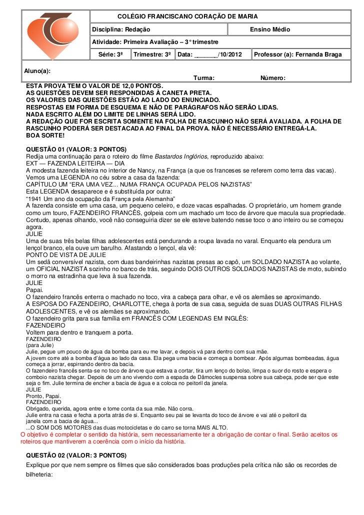 COLÉGIO FRANCISCANO CORAÇÃO DE MARIA                            Disciplina: Redação                                       ...