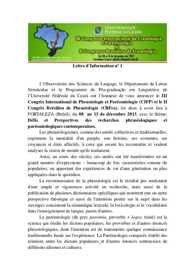 Lettre d'Information nº 1 L'Observatoire des Sciences du Langage, le Départament de Letras Vernáculas et le Programme de P...