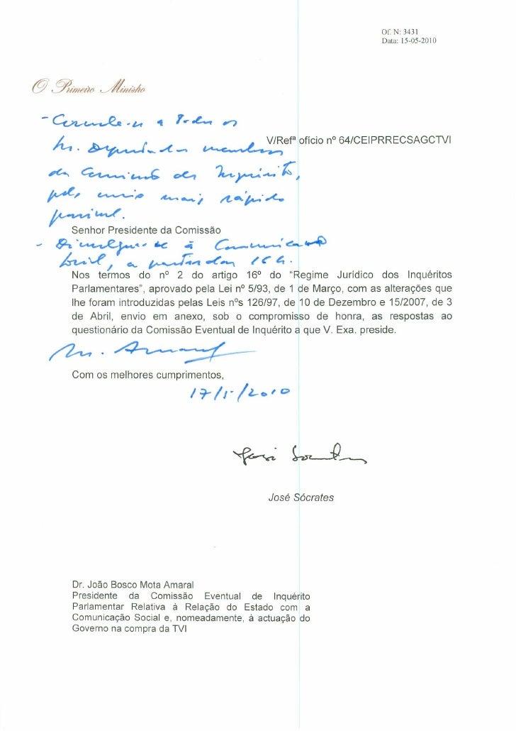 Respostas de José Sócrates à comissão de inquérito PT/TVI
