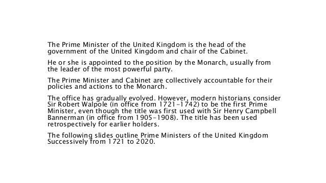 Prime Ministers of the United Kingdom (1721 - 2020) Slide 3