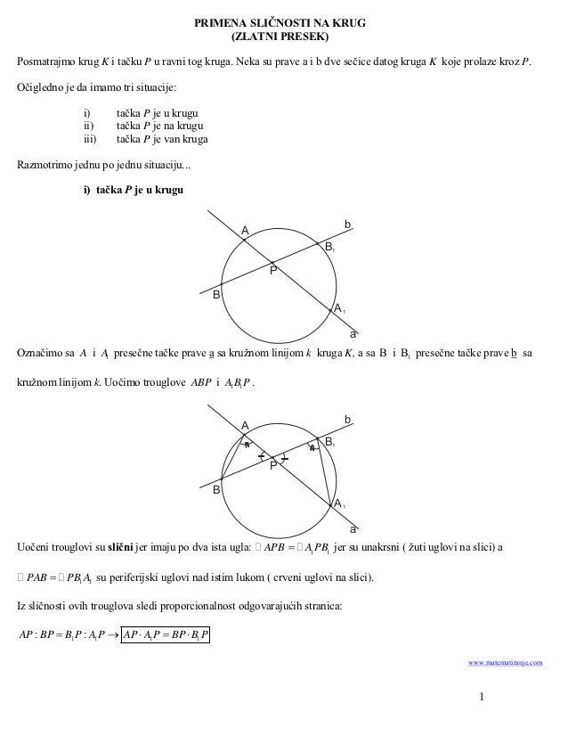 PRIMENA SLIČNOSTI NA KRUG                                              (ZLATNI PRESEK)Posmatrajmo krug K i tačku P u ravni...