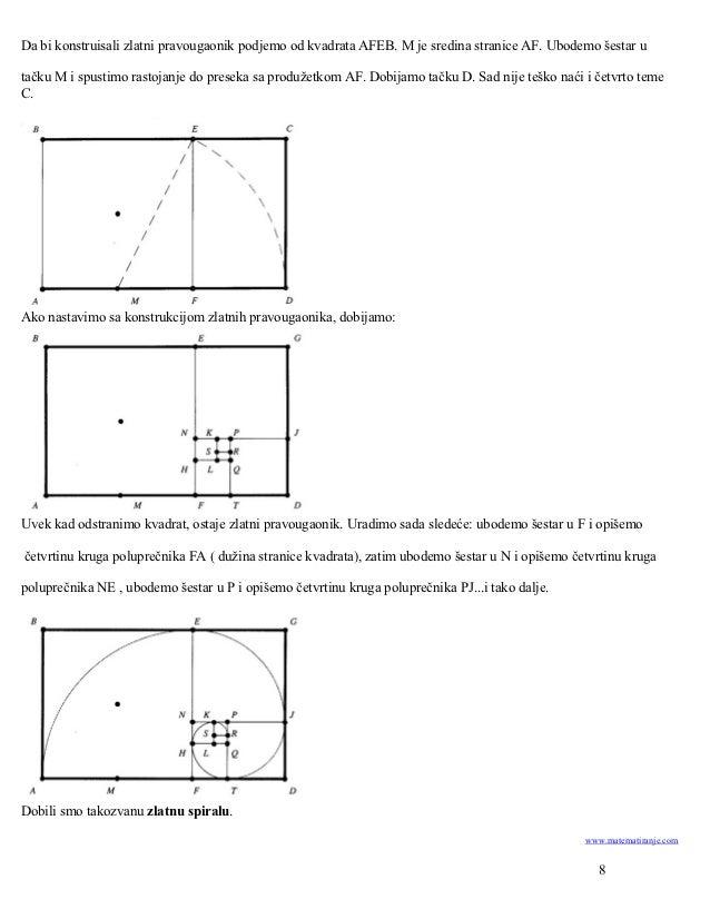 Da bi konstruisali zlatni pravougaonik podjemo od kvadrata AFEB. M je sredina stranice AF. Ubodemo šestar utačku M i spust...