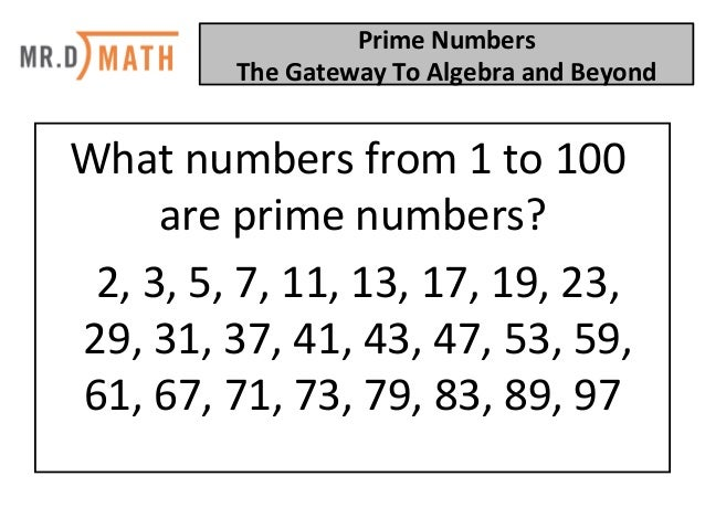 Prime Numbers: The Gateway To Algebra And Beyond! Slide 3