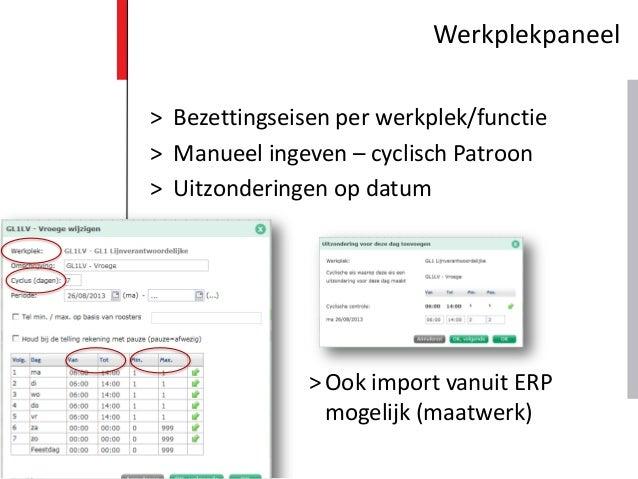 > Bezettingseisen per werkplek/functie > Manueel ingeven – cyclisch Patroon > Uitzonderingen op datum >Ook import vanuit E...