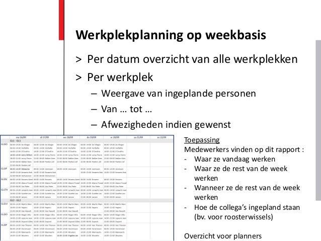 > Per datum overzicht van alle werkplekken > Per werkplek – Weergave van ingeplande personen – Van … tot … – Afwezigheden ...
