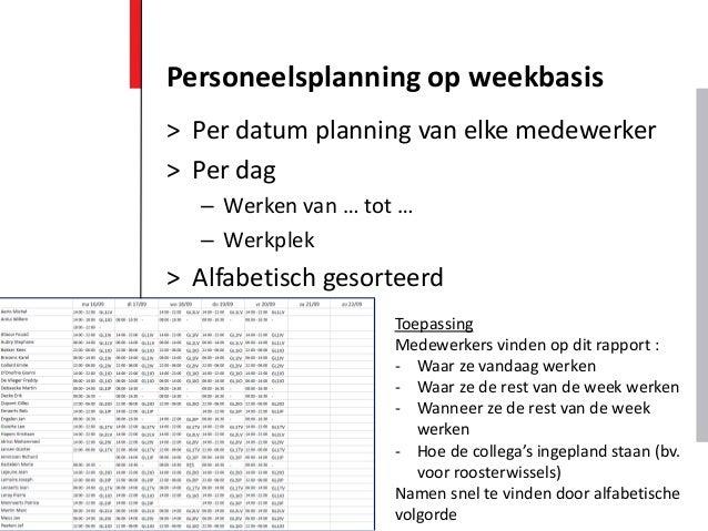 > Per datum planning van elke medewerker > Per dag – Werken van … tot … – Werkplek > Alfabetisch gesorteerd Personeelsplan...