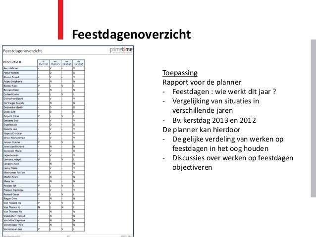 Feestdagenoverzicht Toepassing Rapport voor de planner - Feestdagen : wie werkt dit jaar ? - Vergelijking van situaties in...