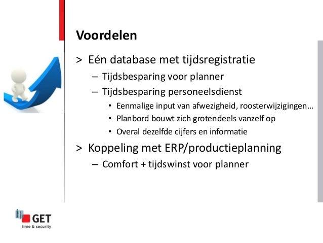 > Eén database met tijdsregistratie – Tijdsbesparing voor planner – Tijdsbesparing personeelsdienst • Eenmalige input van ...