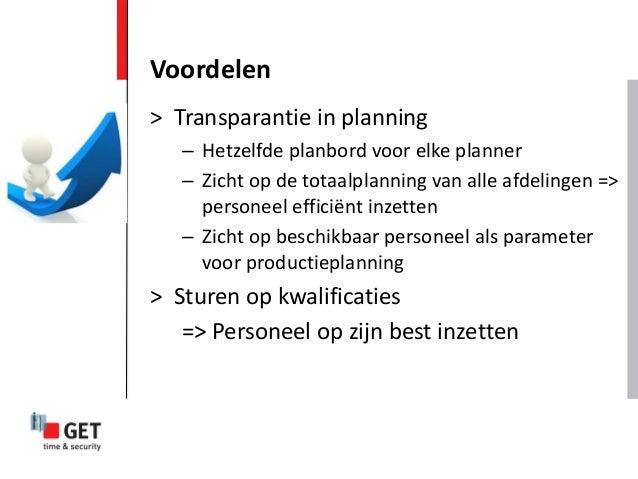 > Transparantie in planning – Hetzelfde planbord voor elke planner – Zicht op de totaalplanning van alle afdelingen => per...