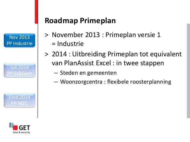 Roadmap Primeplan Nov 2013 PP Industrie Juli 2014 PP St&Gem Eind 2014 PP WZC > November 2013 : Primeplan versie 1 = Indust...