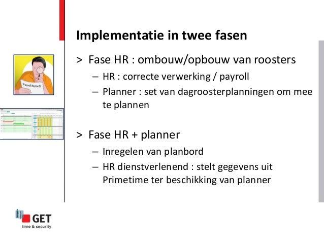 > Fase HR : ombouw/opbouw van roosters – HR : correcte verwerking / payroll – Planner : set van dagroosterplanningen om me...