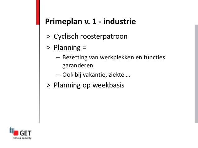 > Cyclisch roosterpatroon > Planning = – Bezetting van werkplekken en functies garanderen – Ook bij vakantie, ziekte … > P...