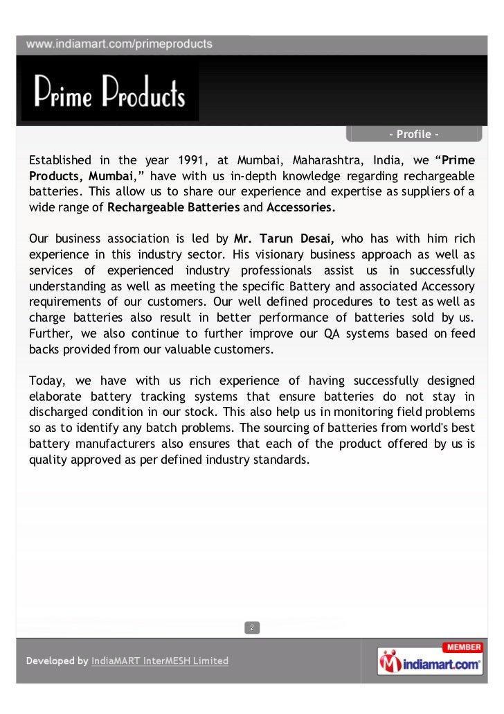 "- Profile -Established in the year 1991, at Mumbai, Maharashtra, India, we ""PrimeProducts, Mumbai,"" have with us in-depth ..."