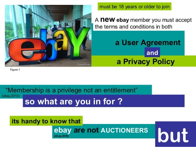 """a User Agreement a Privacy Policy """"Membership is a privilege not an entitlement"""" (ebay,2010) ebay are not AUCTIONEERS (eba..."""