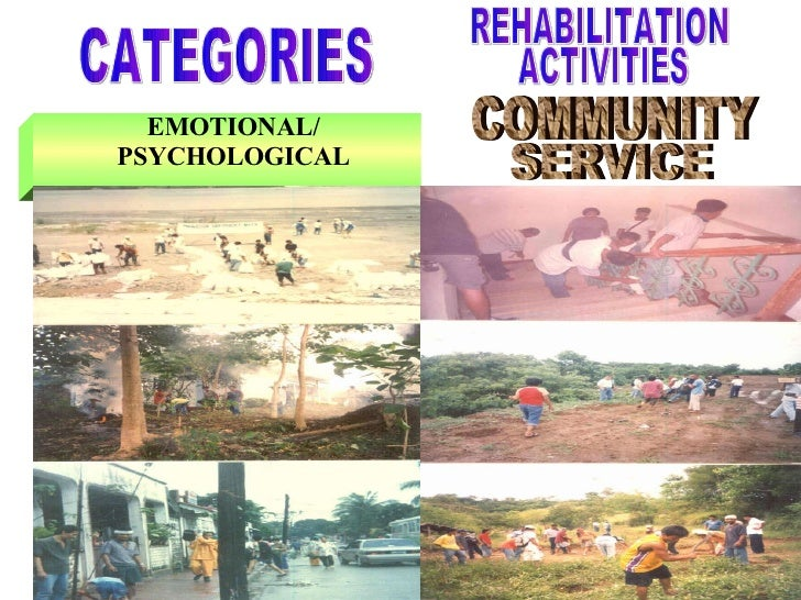 EMOTIONAL/ PSYCHOLOGICAL CATEGORIES COMMUNITY SERVICE REHABILITATION ACTIVITIES