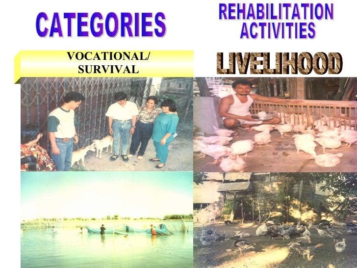 VOCATIONAL/ SURVIVAL CATEGORIES LIVELIHOOD REHABILITATION ACTIVITIES