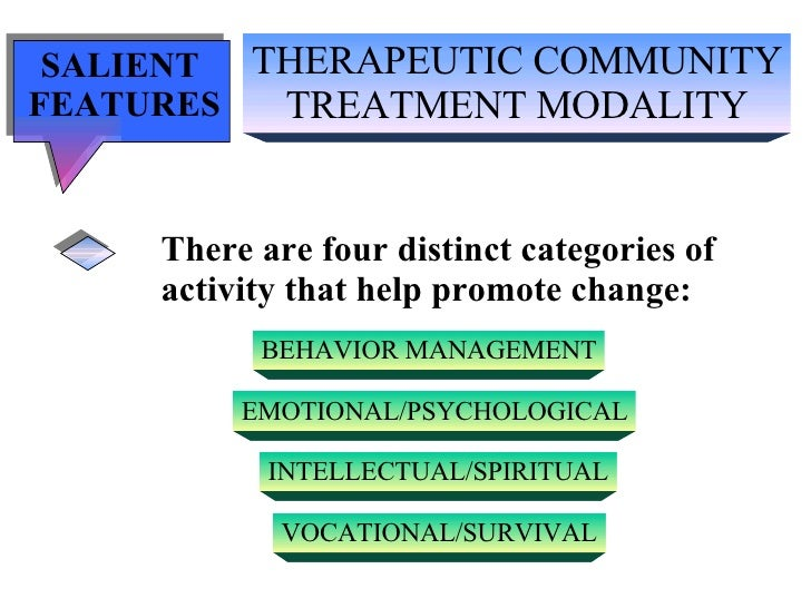 THERAPEUTIC COMMUNITY TREATMENT MODALITY SALIENT  FEATURES There are four distinct categories of  activity that help promo...
