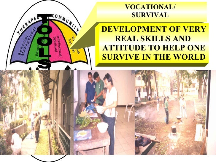 VOCATIONAL/ SURVIVAL DEVELOPMENT OF VERY REAL SKILLS AND  ATTITUDE TO HELP ONE SURVIVE IN THE WORLD TOOLS