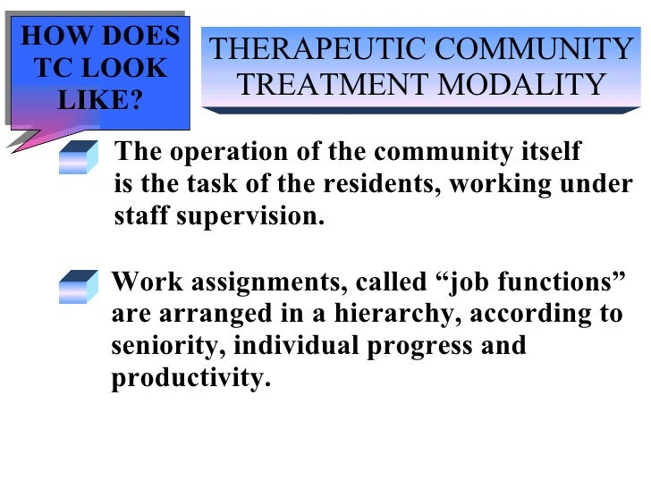 THERAPEUTIC COMMUNITY TREATMENT MODALITY The operation of the community itself  is the task of the residents, working unde...
