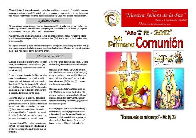 Monición: Llenos de alegría por haber participado en esta Eucaristía, gozososy comprometidos con el Dios de la Vida, vayam...
