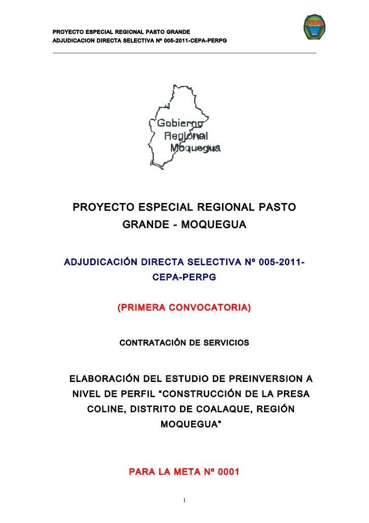 PERPGPROYECTO ESPECIAL REGIONAL PASTO GRANDEADJUDICACION DIRECTA SELECTIVA Nº 005-2011-CEPA-PERPG      PROYECTO ESPECIAL R...