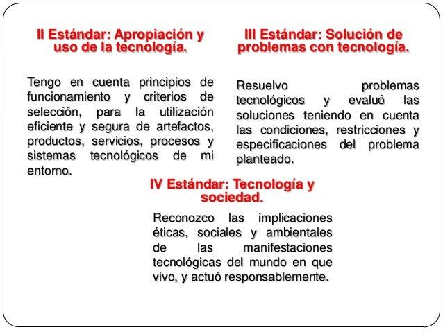 II Estándar: Apropiación y uso de la tecnología. Tengo en cuenta principios de funcionamiento y criterios de selección, pa...