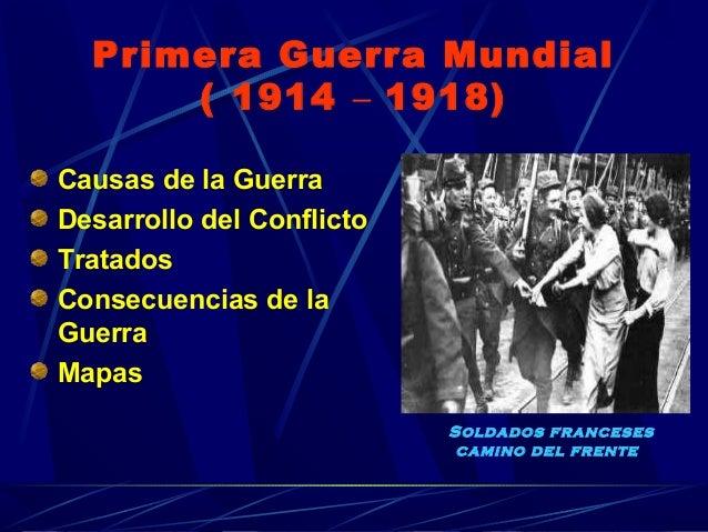 Primera Guerra Mundial ( 1914 – 1918) Causas de la Guerra Desarrollo del Conflicto Tratados Consecuencias de la Guerra Map...