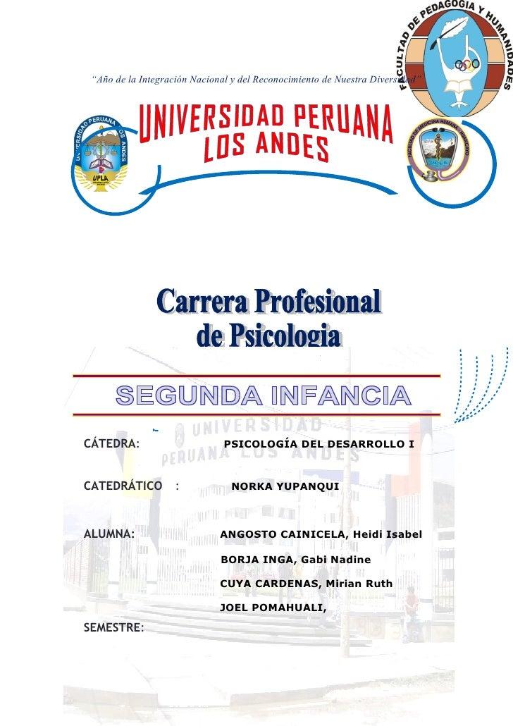 """""""Año de la Integración Nacional y del Reconocimiento de Nuestra Diversidad""""CÁTEDRA:                       PSICOLOGÍA DEL D..."""
