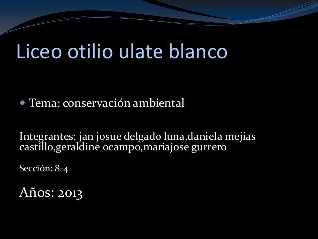 Liceo otilio ulate blanco Tema: conservación ambientalIntegrantes: jan josue delgado luna,daniela mejiascastillo,geraldin...