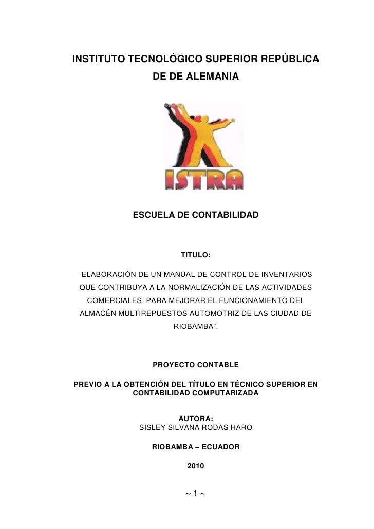 INSTITUTO TECNOLÓGICO SUPERIOR REPÚBLICA DE DE ALEMANIA<br />1873250185420<br />ESCUELA DE CONTABILIDAD<br />TITULO:<br />...