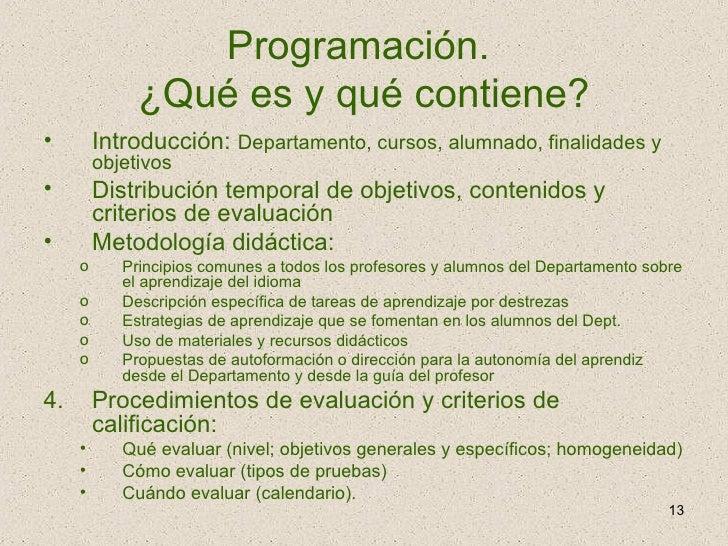 Programación.  ¿Qué es y qué contiene? <ul><li>Introducción:  Departamento, cursos, alumnado, finalidades y objetivos </li...