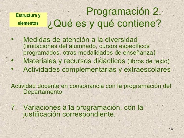 Programación 2.  ¿Qué es y qué contiene?  <ul><li>Medidas de atención a la diversidad  (limitaciones del alumnado, cursos ...