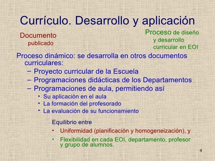 Currículo. Desarrollo y aplicación <ul><li>Proceso dinámico: se desarrolla en otros documentos curriculares: </li></ul><ul...