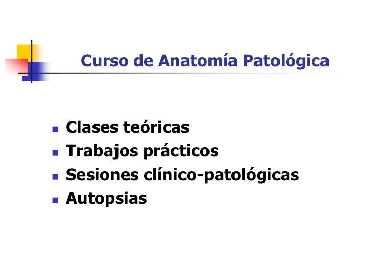 Curso de Anatomía Patológica       Clases teóricas    Trabajos prácticos    Sesiones clínico-patológicas    Autopsias