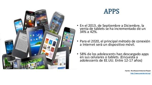 APPS • En el 2013, de Septiembre a Diciembre, la venta de tablets se ha incrementado de un 34% a 42%. • Para el 2020, el p...