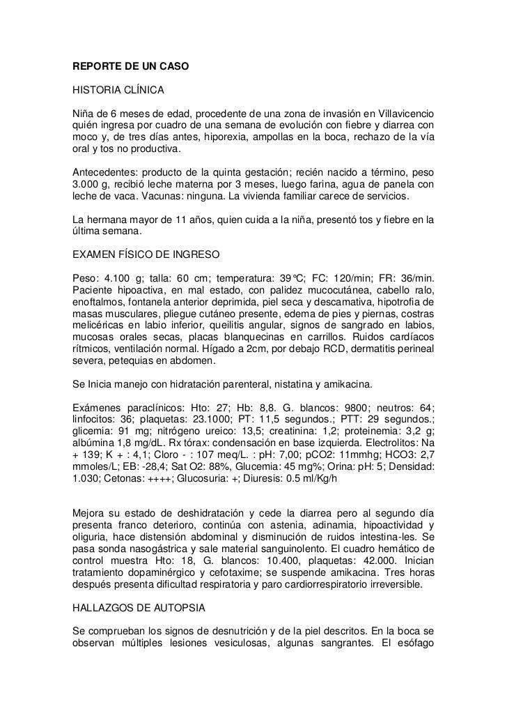 REPORTE DE UN CASO<br />HISTORIA CLÍNICA<br />Niña de 6 meses de edad, procedente de una zona de invasión en Villavicencio...