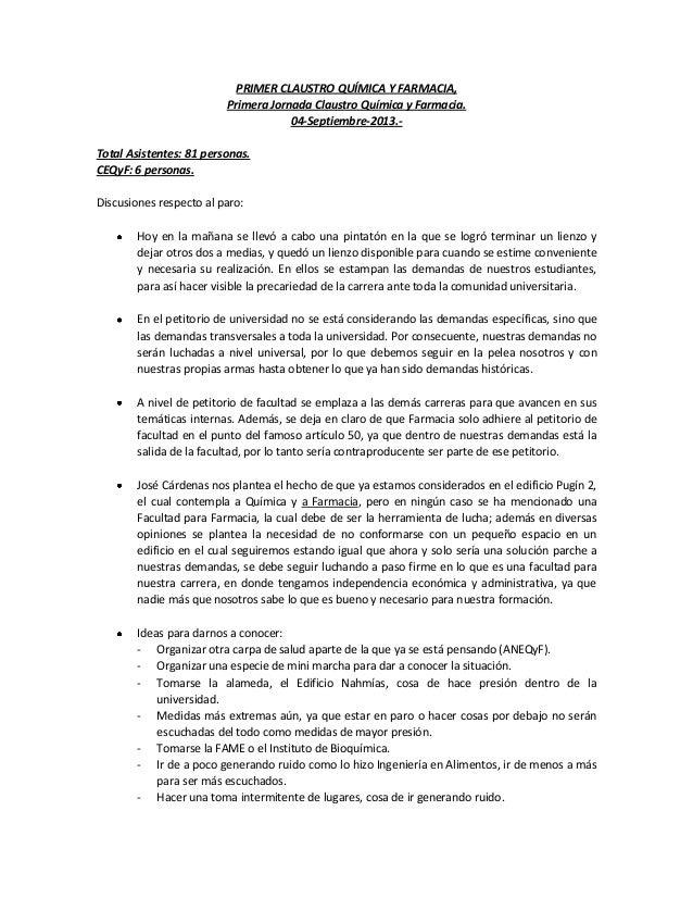 PRIMER CLAUSTRO QUÍMICA Y FARMACIA, Primera Jornada Claustro Química y Farmacia. 04-Septiembre-2013.- Total Asistentes: 81...
