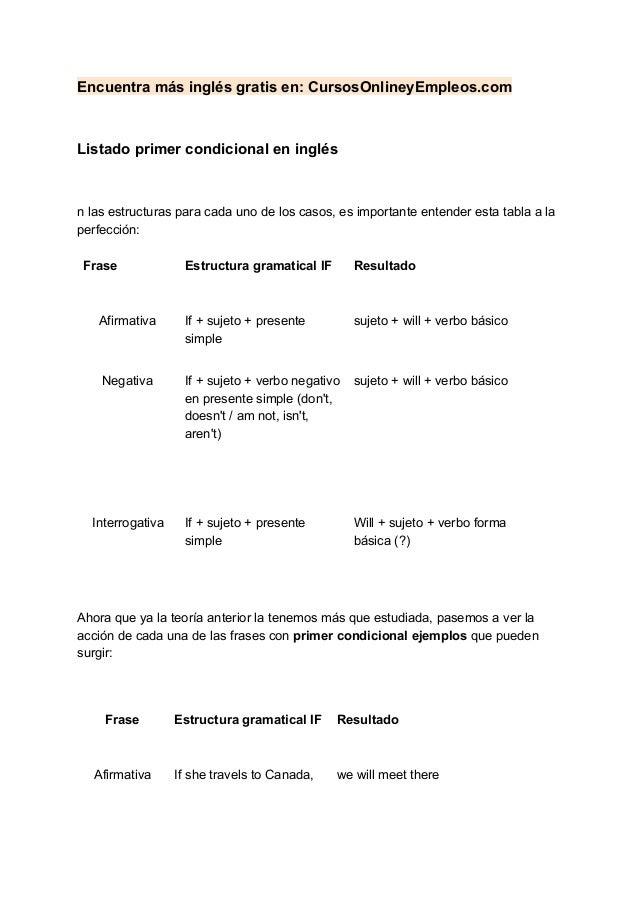Encuentra más inglés gratis en: CursosOnlineyEmpleos.com Listado primer condicional en inglés n las estructuras para cada ...