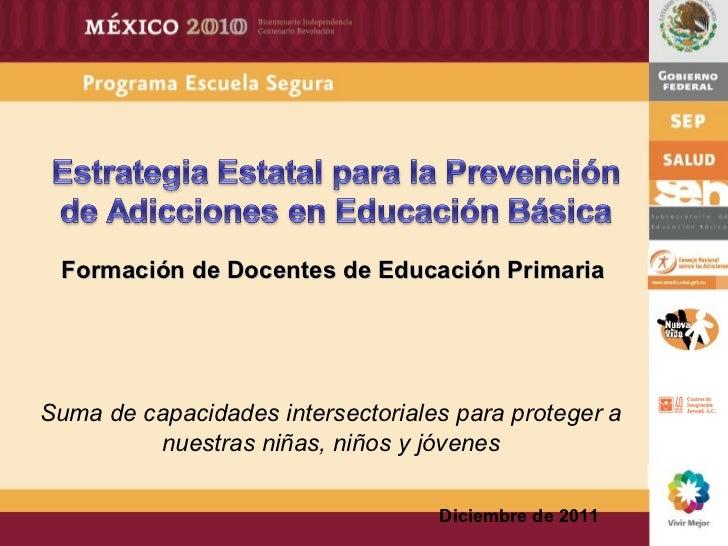 Diciembre de 2011 Suma de capacidades intersectoriales para proteger a nuestras niñas, niños y jóvenes Formación de Docent...