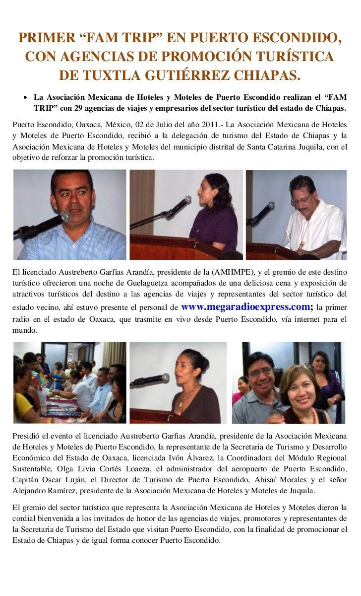 """PRIMER """"FAM TRIP"""" EN PUERTO ESCONDIDO,  CON AGENCIAS DE PROMOCIÓN TURÍSTICA      DE TUXTLA GUTIÉRREZ CHIAPAS.      La Asoc..."""