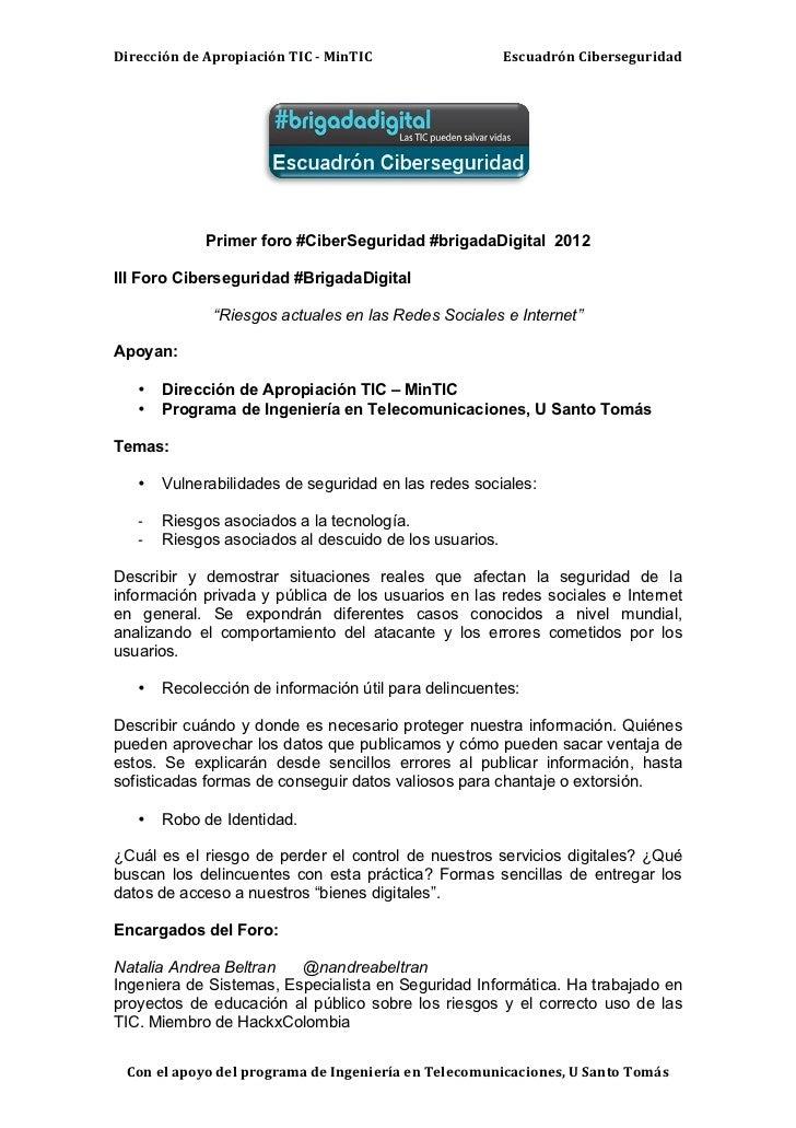 Dirección de Apropiación TIC -‐ MinTIC                    Escuadrón Ciberseguridad                     ...