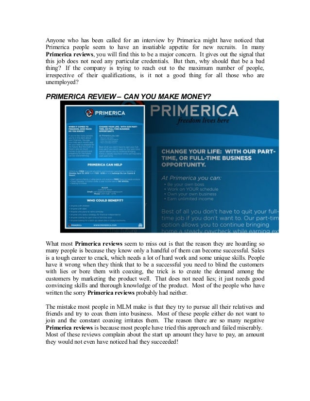 What do reviews say about Primerica being a scam?
