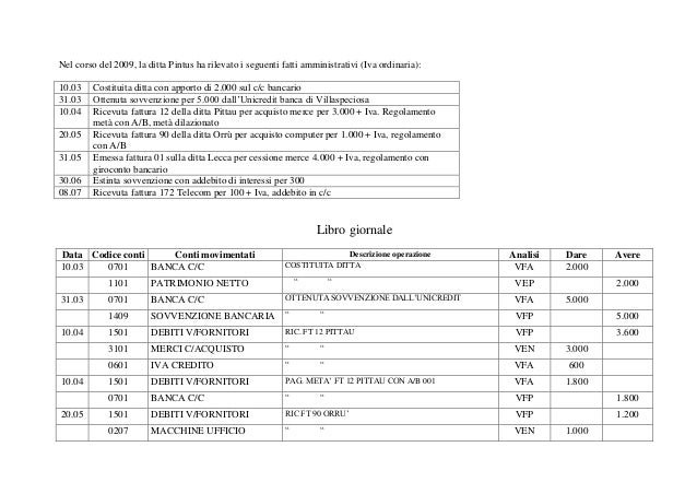 Nel corso del 2009, la ditta Pintus ha rilevato i seguenti fatti amministrativi (Iva ordinaria): 10.03 Costituita ditta co...
