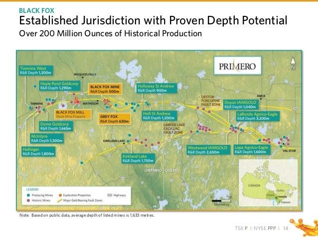TSX P I NYSE PPP I Note: Based on public data, average depth of listed mines is 1,633 metres. Established Jurisdiction wit...