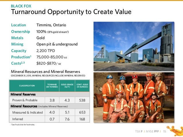 TSX P I NYSE PPP I Turnaround Opportunity to Create Value 15 BLACK FOX Location Timmins, Ontario Ownership 100% (8% gold s...
