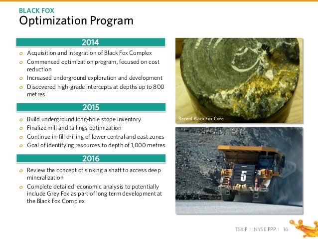 TSX P I NYSE PPP I Optimization Program o Acquisition and integration of Black Fox Complex o Commenced optimization progra...