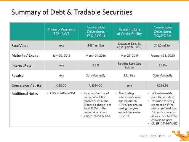 TSX P I NYSE PPP I 31 Summary of Debt & Tradable Securities Primero Warrants TSX: P.WT Convertible Debentures TSX: P.DB.U ...