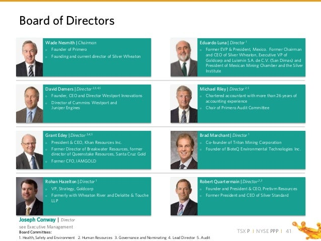 TSX P I NYSE PPP I Robert Quartermain   Director 2,3  Founder and President & CEO, Pretivm Resources  Former President a...